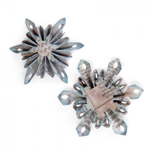 Fustella SIZZLITS DECORATIVE STRIP DIE MINI SNOWFLAKE ROSETTES
