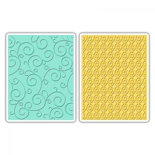 TEXTURED IMPRESSIONS EMBOSSING FOLDERS 2PK SWIRLS SQUARES inOVALS