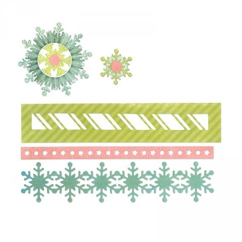 THINLITS DIE SET 9PK WINTER BORDERS & ROSETTE by Paula Pascal