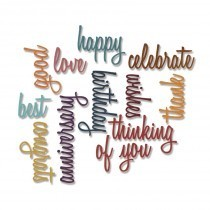 Thinlits Die set 13PK – Celebration Words:SCRIPT