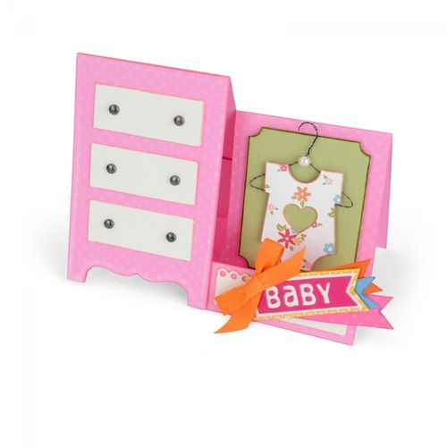 Thinlits Die set 12PK CARD,BABY DRESSER by Lory Whitlock