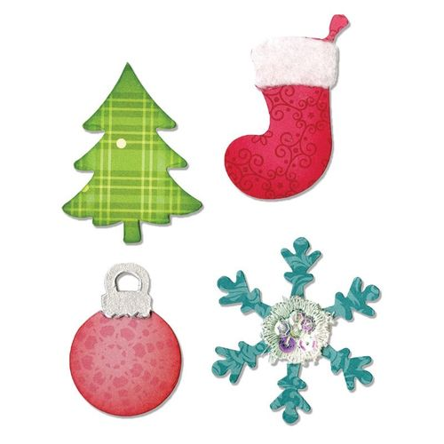 BIGZ DIE CHRISTMAS TREE ORNAMENT SNOWFLAKES & STOCKING